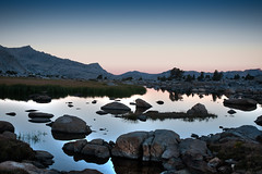 Sierra Sunrise Near Piute Pass (dubland) Tags: california mountains color reflection grass rock stone forest sunrise national granite sierranevada inyo paiutepass calebweston uppergoldentroutlake