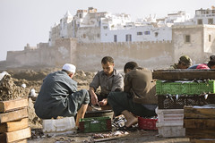 Essaouira - Street Worker (aminefassi) Tags: street leica travel people copyright fish lumix candid panasonic morocco maroc worker essaouira moroccan  photographe elmarit m43 marocain  45mmf28 eassaouira dmcgf3 aminefassi