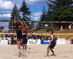 """Greg Nimmo and Greg Vukets in action at the Westlake Junior National Beach Champions for 2014 • <a style=""""font-size:0.8em;"""" href=""""http://www.flickr.com/photos/84092708@N05/13453035105/"""" target=""""_blank"""">View on Flickr</a>"""
