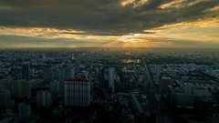 BKK Sunset from Baiyok sky tower (5AAAAM) Tags: city light sunset sky sun tower buildings thailand landscapes nikon ray bangkok cityscapes thai bkk clearsky d600 raylight 2485mm baiyok nikond600 baiyoktower