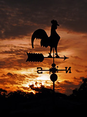 Sunset Silhouette 01 (brentflynn76) Tags: sunset sky weather silhouette clouds skyscape photo rooster weathervane vane