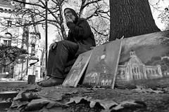 Bulgaria - Sofia (luca marella) Tags: street people bw white man black art painting blackwhite artist panel picture documentary social pb bn canvas painter oil bianco nero reportage marellaluca