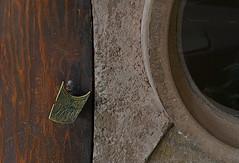 Portal/Porthole (MPnormaleye) Tags: door wood detail art window strange studio concrete handle design woodwork wooden decorative crafts grain scratches homemade frame utata brass