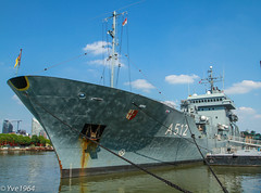 German Ship in London (yve1964) Tags: london water thames canon river germany boat ships german 7d tug battleship riverthames warship minesweeper policeboat westferryquay a512 westferrydock