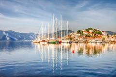 Marmaris, Turkey (Nejdet Duzen) Tags: trip travel sea mountain holiday reflection turkey boat harbour yacht trkiye deniz sandal yat marmaris da liman tatil yansma turkei mugla seyahat
