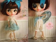 ♥ Antique Blue Baby Dress & Bloomer ♥