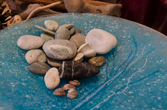 321/365 - NZ Stones (Spannarama) Tags: november glass dish stones turquoise bowl pebbles driftwood 365 2013