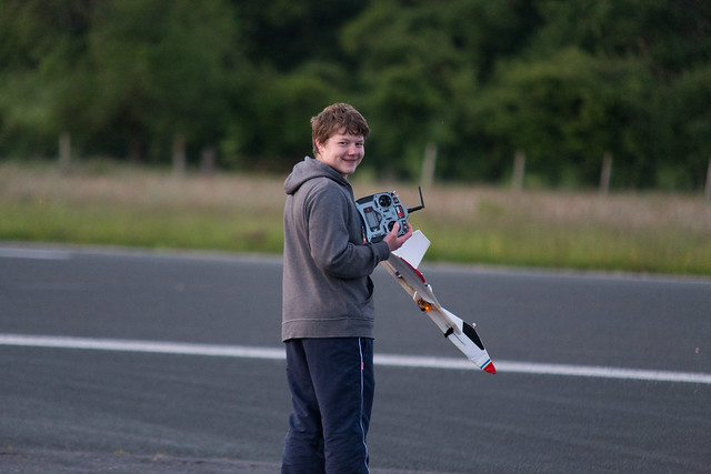 Nathan about to fly his scratch build figher.