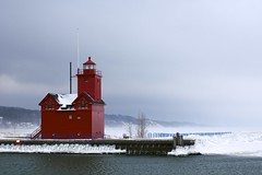 Big Red Lighthouse (Sneezzzzz) Tags: statepark travel winter lighthouse lake snow frozen day unitedstates michigan bigred hollandstatepark 5photosaday sonyslt