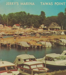 """NE East Tawas MI 1960s GREAT View of JERRYS MARINA on Tawas Point Yachts and Private and Charter Fishing Boat Headquarters on Tawas Bay and Lake Huron1 (UpNorth Memories - Donald (Don) Harrison) Tags: travel usa heritage history tourism vintage antique michigan postcard memories restaurants hotels trailer roadside upnorth cafes attractions motels cottages cabins campgrounds upnorthmemories rppc wonders"""" """"michigan memories"""" parks"""" entertainment"""" """"natural harrison"""" """"roadside """"travel """"don """"tourist stops"""" """"upnorth"""