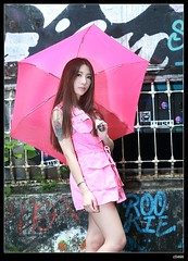 nEO_IMG_DP1U0035 (c0466art) Tags: light red portrait beauty face rain ava wall female canon painting nose eyes funny asia pretty day outdoor quality picture cloth 1dx colorfulo c0466art