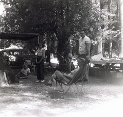 Relaxing in Camp, Yosemite National Park (jhitzeman) Tags: camp paul christine tent edgar eddie yosemitenationalpark judy jeanne oswald picnictable yose lieschen camp14 hitzeman 1960circaincamp