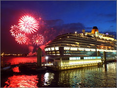 Liverpool (Queen Victoria berthed at the Cruise Terminal) 30th May 2014 (Cassini2008) Tags: liverpool reflections fireworks queenvictoria rivermersey liverpoolcruiseterminal