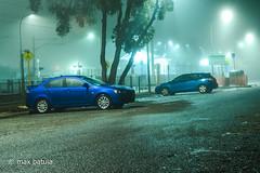 its a mitsi (maximo.batula) Tags: blue night nikon foggy carpark lancer uss d3100 ldiuszaf