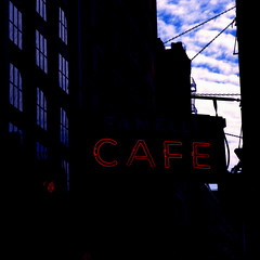 Noir American (colinpoe) Tags: nyc newyorkcity urban 6x6 tlr film mediumformat square soho gothamist happyaccidents mamiyac330 c330 fanellicafe fanelli c330f ektar100