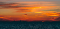 Chicago Sunset (The New No. 2) Tags: city sunset sun lake chicago water colors horizontal skyline clouds buildings colorful gbrearview unitedstates dusk searstower dunes may indiana lakemichigan hancock trump chesterton brilliant indianadunes lakefront 2014 chicagoist johncrouch willistower johncrouchphotography copyright2014johncrouch