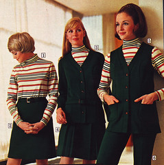 sears 69 fw green and stripes (jsbuttons) Tags: 1969 clothing mod 60s buttons sears womens clothes catalog 69 sixties vintagefashion