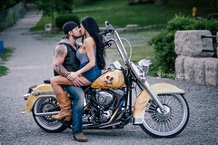3 (Jesse James Photography) Tags: portrait green model fuji bikes harley motorcycle brunette engagements xf56 xe2