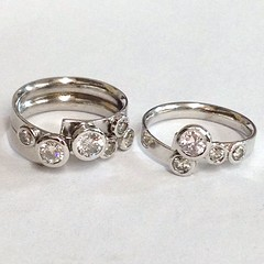 Two part Diamond cluster ring set