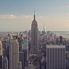 From top of the Rock - Empire State (Pochi Soffia) Tags: city travel viaje urban usa newyork june architecture canon vintage manhattan july ciudad retro squareformat empirestate urbano sights nuevayork 2014