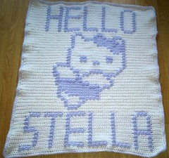 HELLO KITTY BLANKET FOR STELLA (dochol) Tags: hello baby chart cute wool handmade name crochet kitty craft graph yarn blanket afghan alphabet hook manta personalised croche