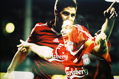 . (Khnh Hmoong) Tags: red portrait film analog 35mm photography doubleexposure soccer analogue lfc liverpoolfc stevengerrard nikonfm fujicolorpluspro200