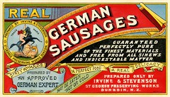 Real German Sausages, Irvine & Stevenson,  St. George Preserving Works, Dunedin, New Zealand (Alan Mays) Tags: old blue red newzealand horses food white black hot cold yellow vintage ads paper advertising typography grey antique circles dick gray 19thcentury victorian saints illustrations dragons meat ephemera stevenson german nz sausages type labels dunedin awards banners stgeorge mills advertisements pure fonts printed depth delicacies logos saintgeorge borders irvine printers shadowing companies typefaces manufacturers multilayered purity nineteenthcentury experts trademarks vignettes scrolls preserving lithographers germansausages slaying sinews indigestible gaslightstyle sausagelabels irvinestevenson stgeorgepreservingworks millsdickco