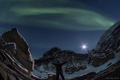 Me and Aurora :-) (Kurt Are Larsen) Tags: 2017 nordlys natur aurora auroraborealis nordnorge northernlights troms oldervik moon fujifilmxt2 samyang8mm fisheye rocks