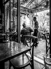 A Sunday Morning (tritranla) Tags: people losangeles cafe urban streetphotography blackandwhite candid men