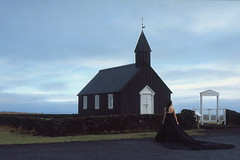 the black dress (Andy Kennelly) Tags: black church iceland film fuji velvia winter slidefilm candid february stranger snæfellsnes peninsula buðir 35mm