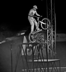 2013. Lviv. Ukraine (bobobahmat) Tags: bnw bw black white blackandwhite blackwhite blacknwhite monochrome mono man circus bike biker performer performance people danger
