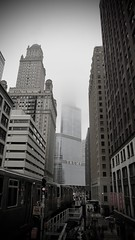 (Crawford Brian) Tags: fog clouds cloudy dark gloomy dismal foreboding architecture chicago transit cta el train elevated platform station city urban drained damp loop illinois midwest sky despair doom bad negative disaster
