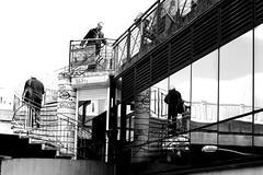 The round (pascalcolin1) Tags: paris hommes men escalier stairs reflets reflection miroir mirror photoderue streetview urbanarte noiretblanc blackandwhite photopascalcolin
