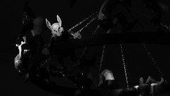 Sharmanka Kinetic Theatre (elizunseelie) Tags: sharmanka kinetic theatre art arts sculpture sculptures russian glasgow scotland creepy macabre junk animals figures pentax k5 tamron dslr gallery show eduard bersudsky scottish hidden gem black white monochrome circus acrobat acrobats bear