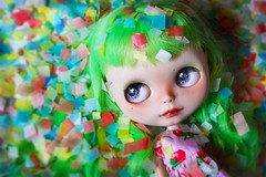 Confetti (Antique Wolf) Tags: blythedoll blythe doll coolcat confetti minijijo amyallis amarilis ooak dolls toy toys photography green rainbow pride custom licca customized boggles fringed lovely sweet kawaii cute adorable bokeh kinda pink strawberries dress bangs