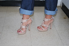 Chubby Foot Girl in Jeans and High Heels (Jaylynn's Best Feeture) Tags: sexy sandals sandalias toes toering tattoo highheels heelfetish footfetish feet female fetish