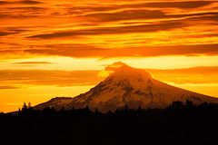 Fire and Ice (rowjimmy76) Tags: portland pdx sunrise fire sky orange red oregon mounthood landscape weather pacificnorthwest pnw snow cascademountains