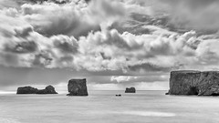 Don't know where my spirit went (OR_U) Tags: 2017 oru iceland bw blackandwhite blackwhite le longexposure 169 widescreen landscape seascape sea clouds mountains islets horizon iggypop coast vik dyrhólaeyarch dyrhólaey