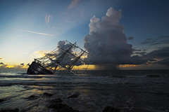 Ship Wreck At Fort Fisher - 090614-064334 (Glenn Anderson.) Tags: sea atlantic ocean sunrise morning rain tall clouds water reflection thunder d600 tamron outdoor cloud sky tallship wreck compilation cloudsstormssunsetssunises