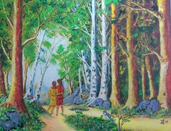 SISTERS, FRIENDSHIP FOR LIFE (tomas491) Tags: fantasy mixedmedia acrylicoilpainting friends sisters forest girls fantasypainting