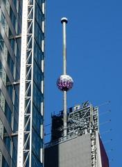 One Times Square - New Years Ball (TheMachineStops) Tags: outdoor nyc newyorkcity manhattan 2017 bluesky azulcielo centennialball newyears newyearseve balldrop timessquare sphere pole onetimessquare