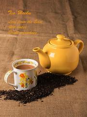 Tea haiku (Geoff France) Tags: teapot mug tealeaf hessian cocoa poetry drink hotdrink refreshment