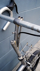 . (Shu-Sin) Tags: bicycle raleigh randonneur randonneuse steel velo shusin folding blue wall front rack handlebar bag rear weird modification small wheel centerpull brake super tall custom stem braze brazed brass cecaleur