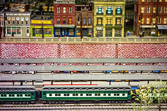 tiny model train station and train in the museum (DigiDreamGrafix.com) Tags: train express steamlocomotive set travel model transport transportation vintage toy speed motion blur toys engine miniature track station railway trains steam platform fake locomotive railroad rail speeding commuting modeling models commuters usa museum