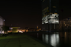 """Eiffel tower view from """"La Defense"""" district (Paris) (docteurTonTon) Tags: eiffel view from la defense district paris by night tower fontaine fontain monumentale water reflection thomas tesson building"""