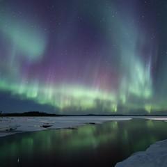 Sky Alight (frostnip907) Tags: auroraborealis northernlights alaska winter green red purple reflection snow night nightsky longexposure astrophotography river ice panorama square