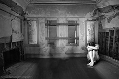 Photo artistry - girl in the corner (mcleod.robbie) Tags: black white bw sad alone depression crying moody isolated person desolate room empty finearts furnancefashionedphotography dark darkness simple conceptual contrast abstract dream