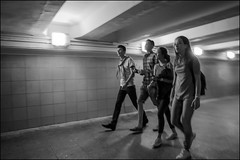 DR150802_0889D (dmitry_ryzhkov) Tags: four friend underground crossing crosswalk tunnel corridor motion movement walk walker walkers pedestrian pedestrians man men woman women lady sony alpha black blackandwhite bw monochrome white bnw blacknwhite bnwstreet art city europe russia moscow documentary journalism street streets urban candid life streetlife citylife outdoor outdoors streetscene close scene streetshot image streetphotography candidphotography streetphoto candidphotos streetphotos moment light shadow people citizen resident inhabitant person portrait streetportrait candidportrait unposed public face faces eyes look looks
