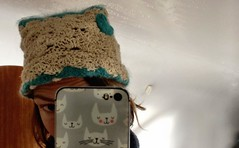 My new diy beanie. And bloody wet roof.