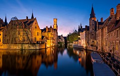 Bruges at Blue Hour (Barry O Carroll Photography) Tags: belltower belfry beffroi townhall canal water reflection mirrorimage buildings bruges brugge belgium belgique bluehour evening night cityscape city urbanlandscape architecture flemish travel longexposure slowshutterspeed wideangle